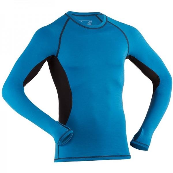 Bio langarm Shirt für Herren aus Merinowolle in sky blue