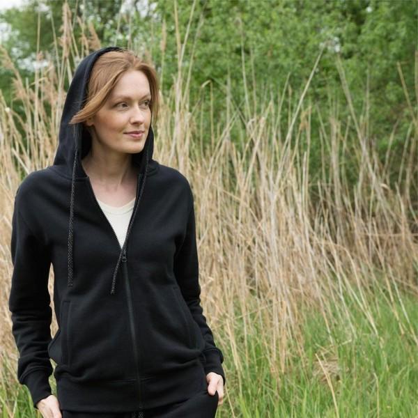 Bio HOODIE - Kapuzenjacke in schwarz aus Biobaumwolle - Kapuzenpulli